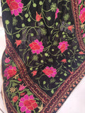 Black Velvet Dupatta Flower Design