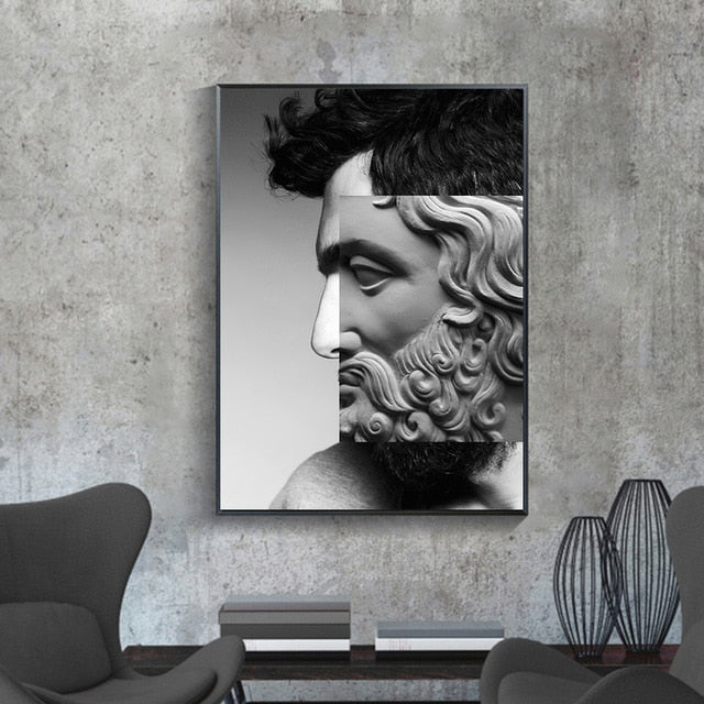 Woman Snake Head Sculpture Renaissance Art Poster Abstract Canvas Painting Modern Fashion for Living Room Corridor HD Decoration