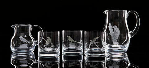 Hand Engraved Crystal Glassware - Crystal tumblers and water jugs