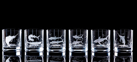 Hand Engraved Crystal Glassware - Big Game Fish