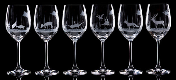 Hand Engraved Crystal Glassware - Crystal wine glasses