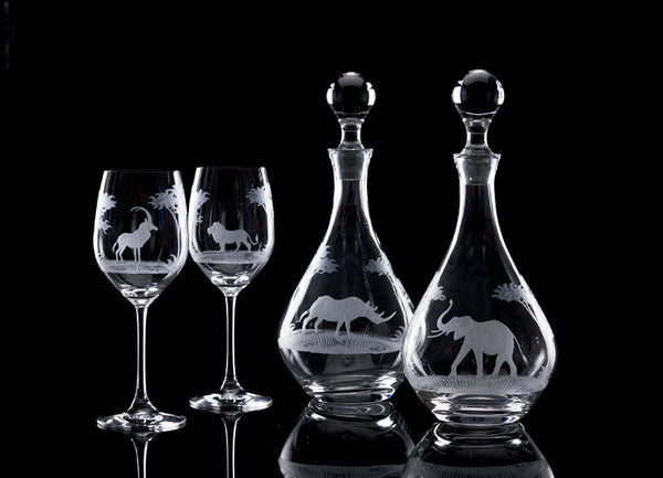 Hand Engraved Crystal Glassware - Crystal decanters and wine glasses