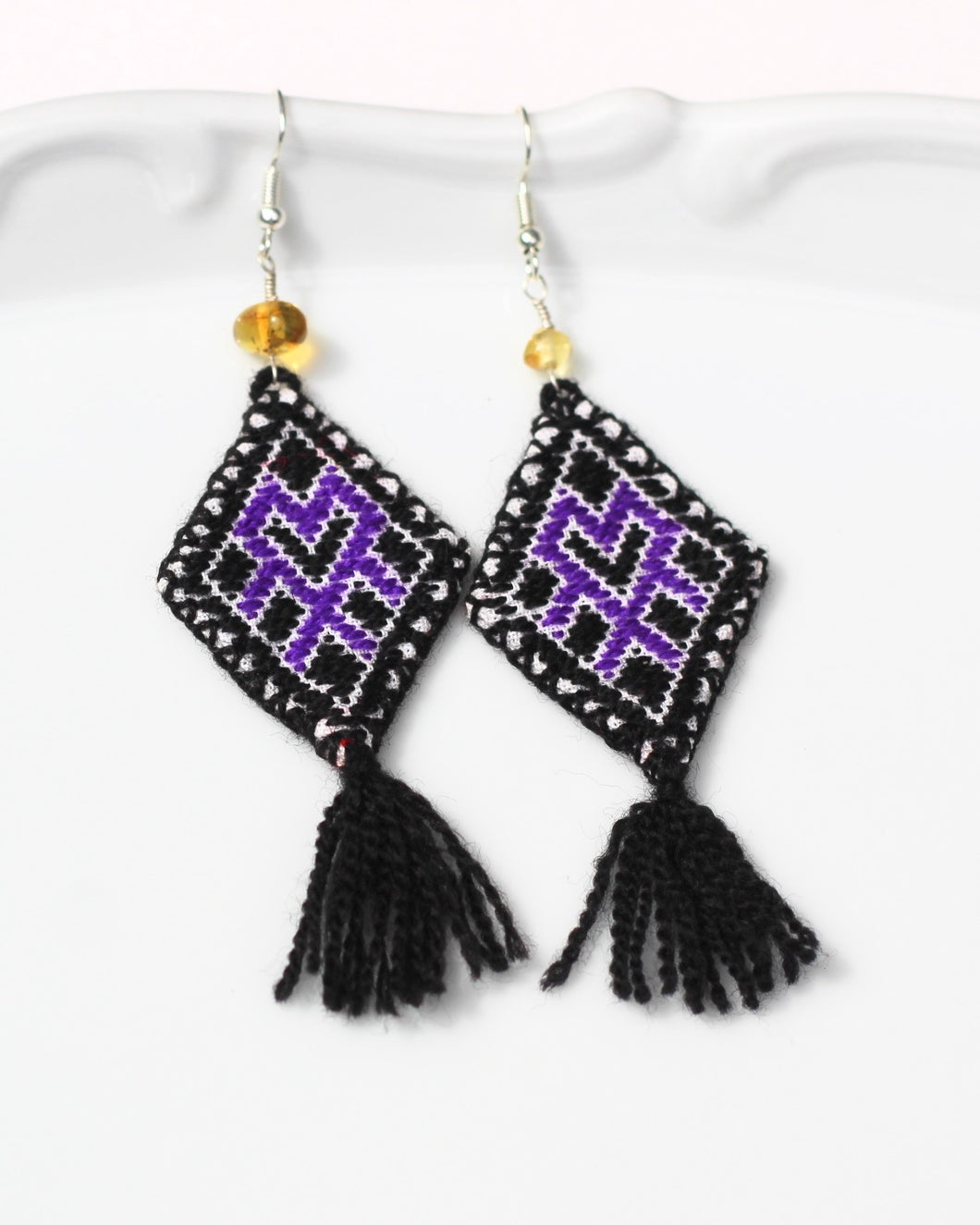 Hand Embroidered Tassel Earrings- Black