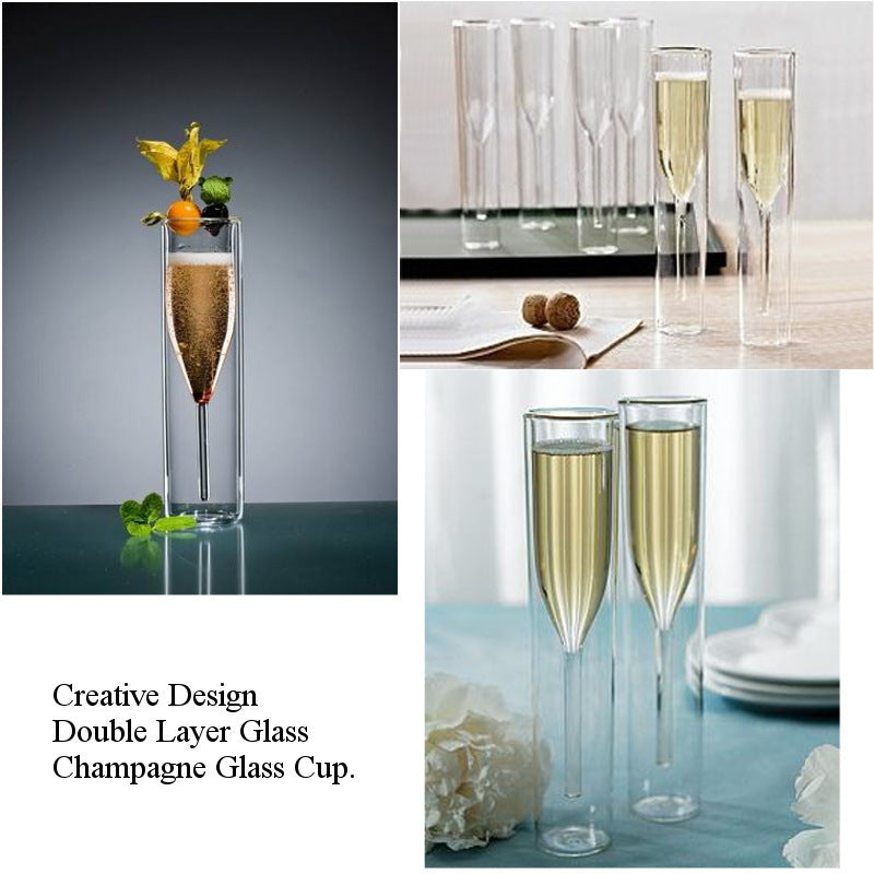 Champagne Glass  Double Wall Glasses Flutes Goblet