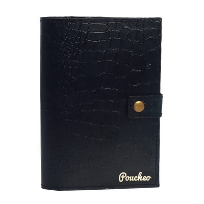 ''Jet Black Bi-Fold'' - Crocodile Pattern Passport Cover