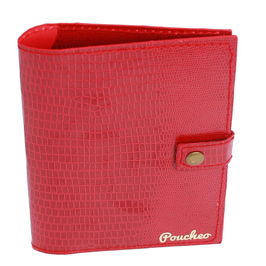 """Ophidian Rose Red Bi-Fold"" - Snake Pattern Passport Cover"