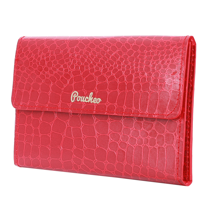 ''Rose Red Tri-Fold'' – Crocodile Pattern Passport Cover