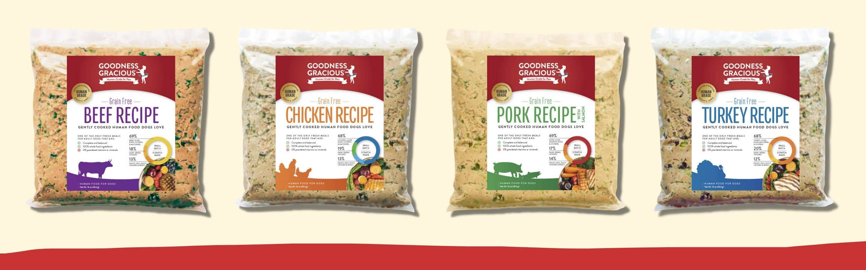 human grade fresh food for dogs in four varieties including beef chicken turkey and pork with wild salmon