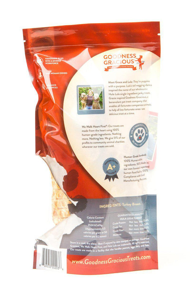 Goodness Gracious Human Grade, Single Ingredient Hula Lula Turkey Jerky for Dogs