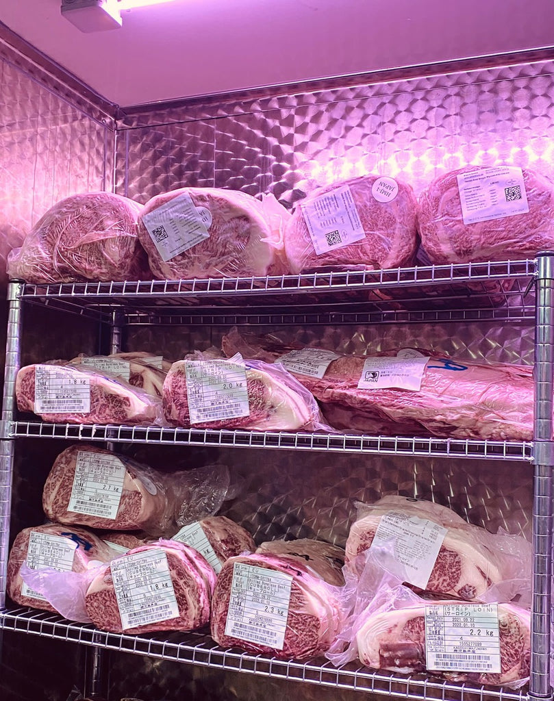 Picture of a freezer filled with Wagyu A5 beef