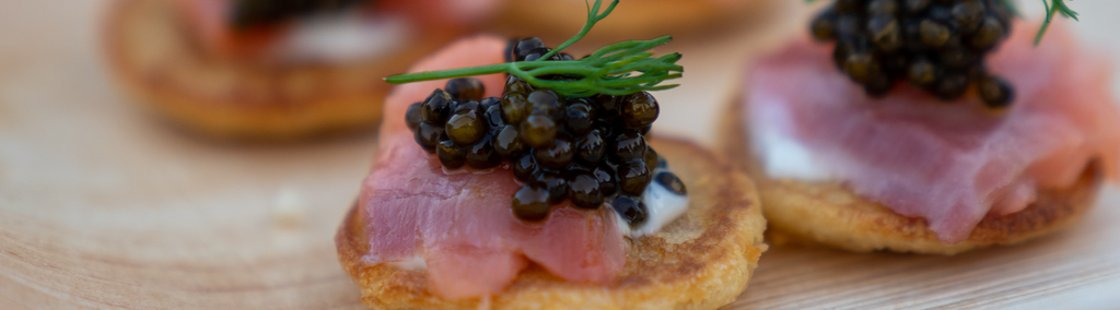 Picture of toast, ham and caviar