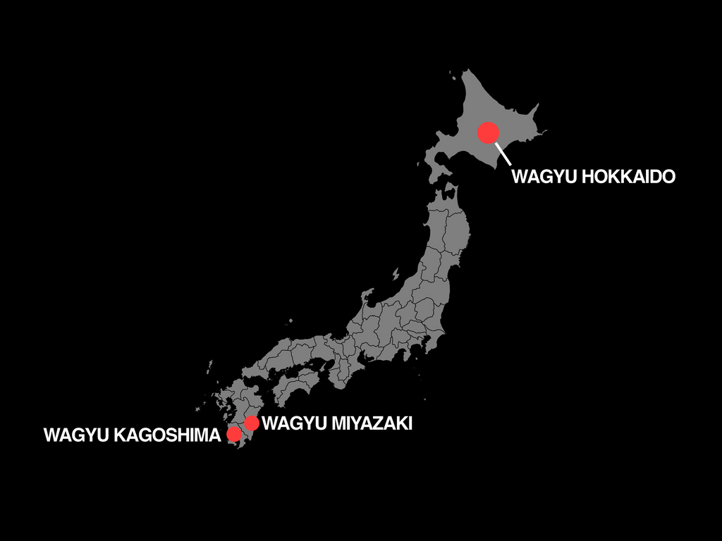 Map of Japan pointing out different Wagyu prefectures