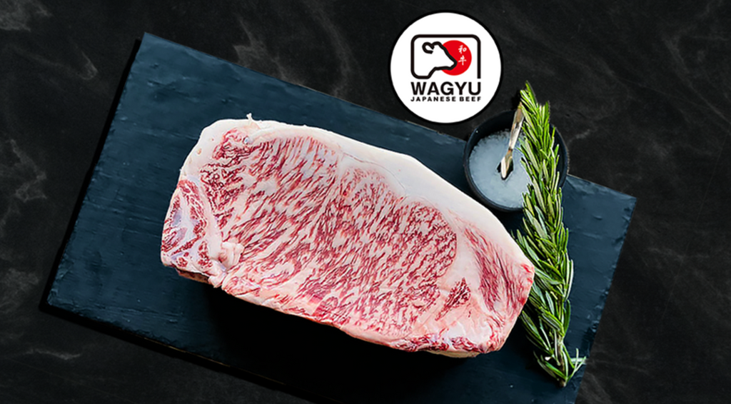 Picture of a Japanese Wagyu sirloin steak with Wagyu badge