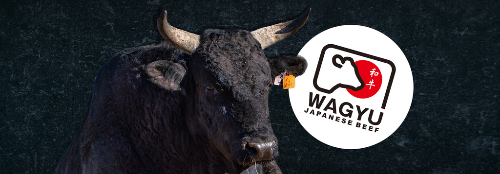 Picture of a Wagyu cow with the official Wagyu logo next to it