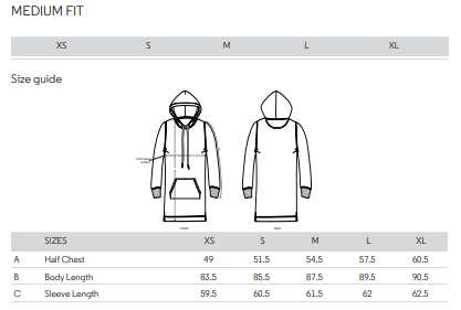 Label hooded dress size guide