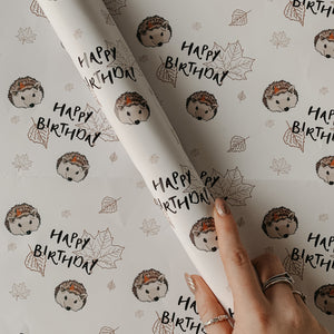 Woodland Hedgehog Birthday Wrapping Paper & Gift Tag