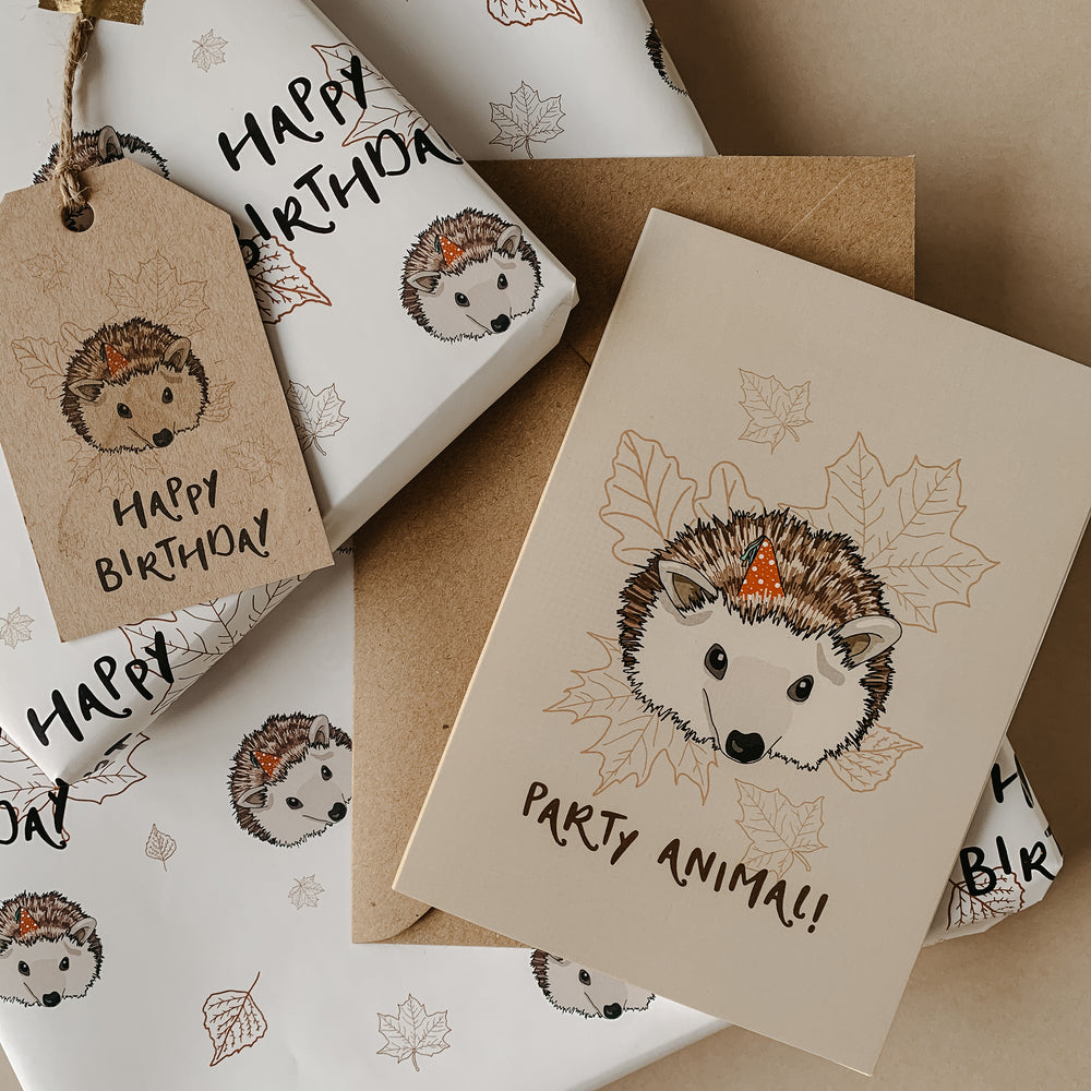 Load image into Gallery viewer, Woodland Hedgehog Birthday Wrapping Paper & Gift Tag