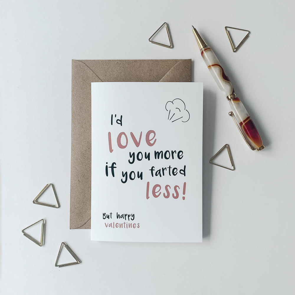 Load image into Gallery viewer, I'd love you more if you farted less! - Valentines card