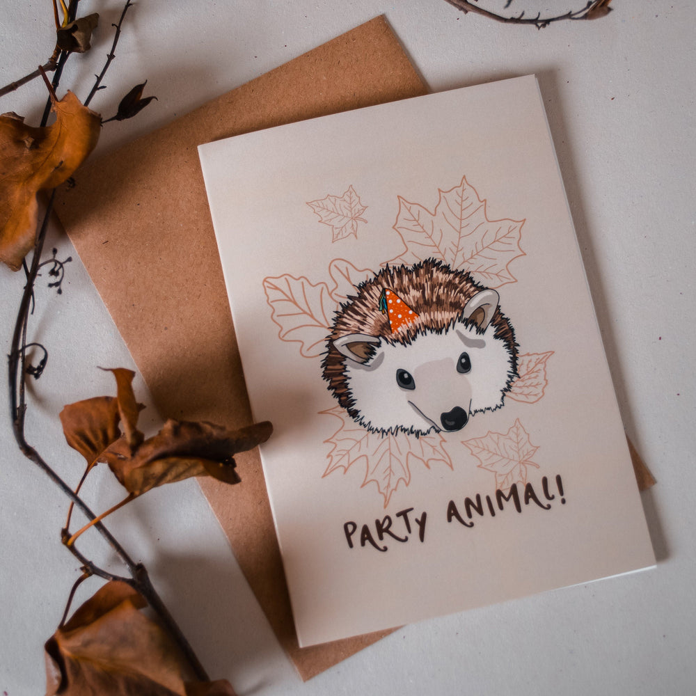 Party Animal - Hedgehog Birthday Card