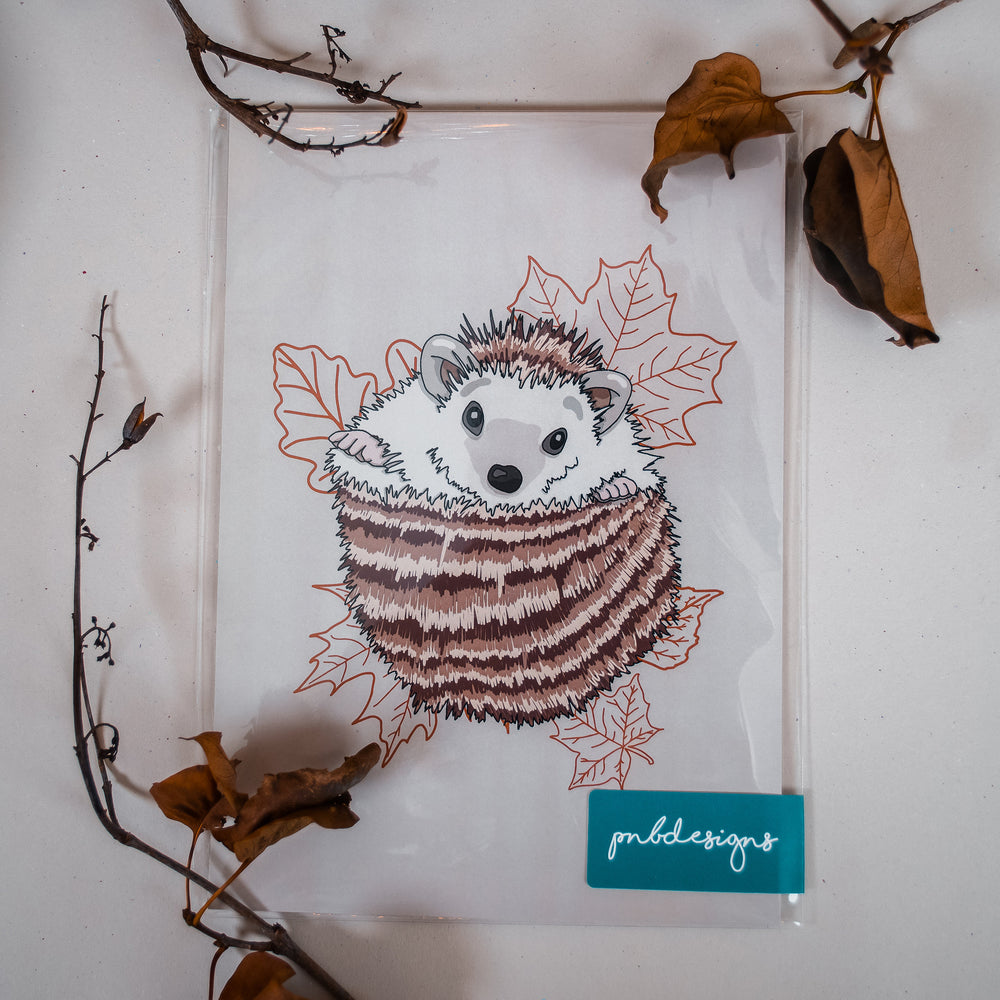 Woodland Hedgehog Print - A5