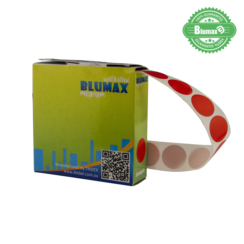 Blumax Self Dispenser Round (19MM) Red Label Dots