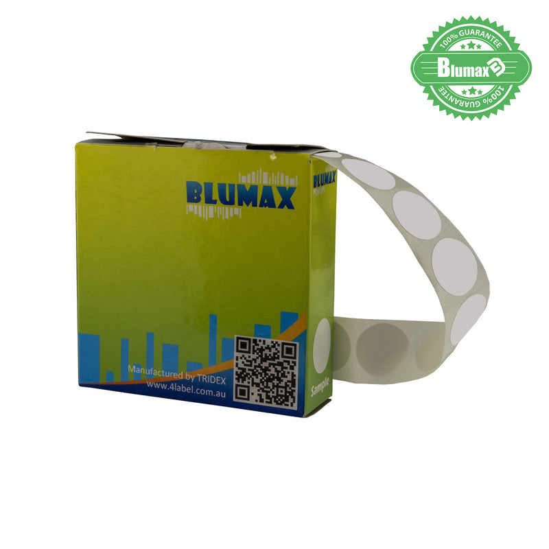Blumax Self Dispenser Round (14MM) White Label Dots
