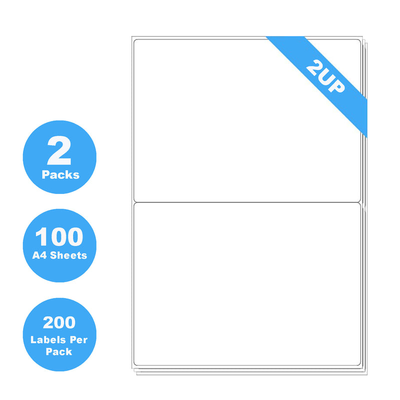 200 Sheets A4 Quick Peel Self Adhesive Address Mailing Laser Inkjet Sticker White Paper Labels 199.6 x 143.5mm - 2 Labels Per Sheet