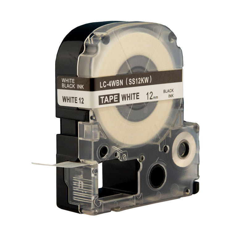 10x Compatible Label Tapes for Epson LC SS12KW 12mm Tapes Black Text on White Labels