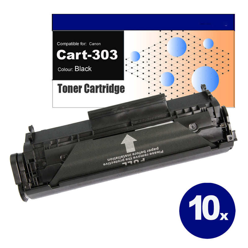 10 Pack Compatible Toner for Canon CART-303 Black Toner Cartridges