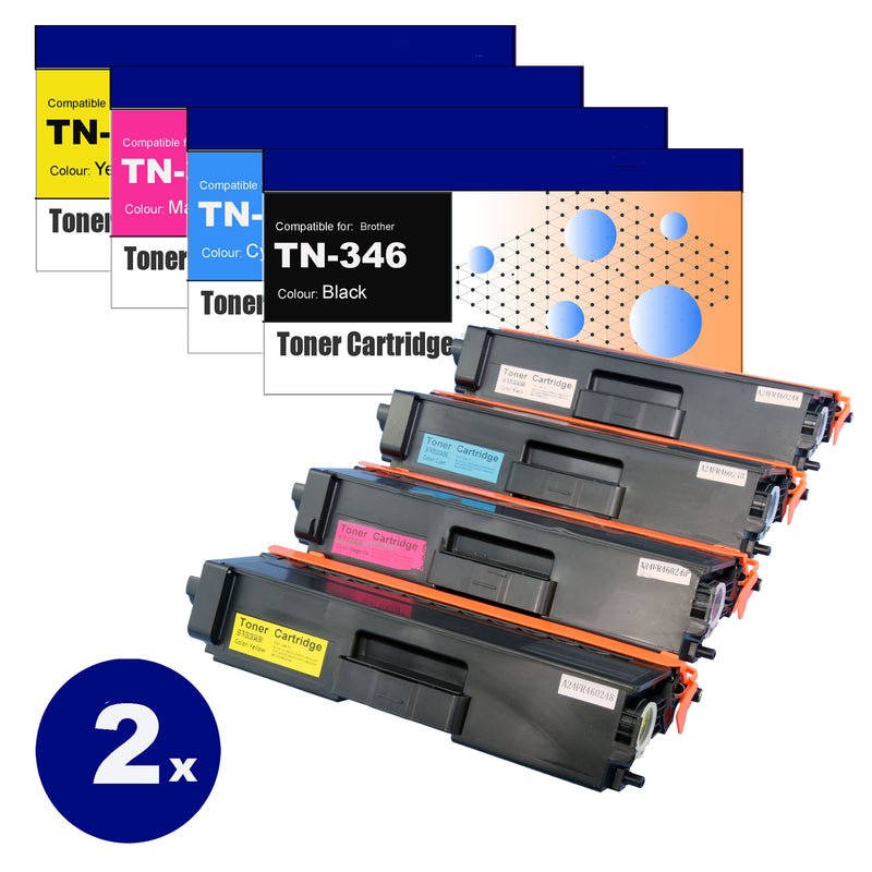 8 Pack Compatible Toner Cartridges for Brother TN-346  (BK+C+M+Y)