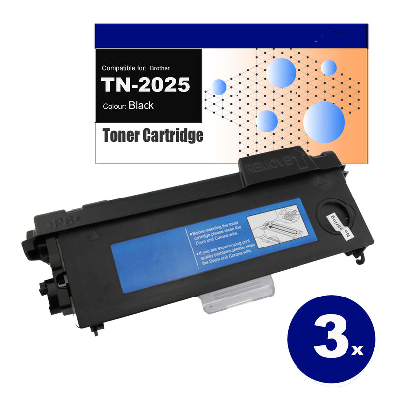 3 Pack Compatible for Brother TN-2025 Black Toner Cartridges