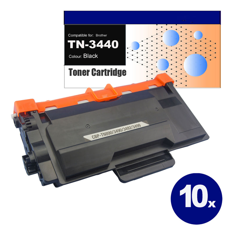 10 Pack Compatible Toner for Brother TN-3440 Black Toner Cartridges