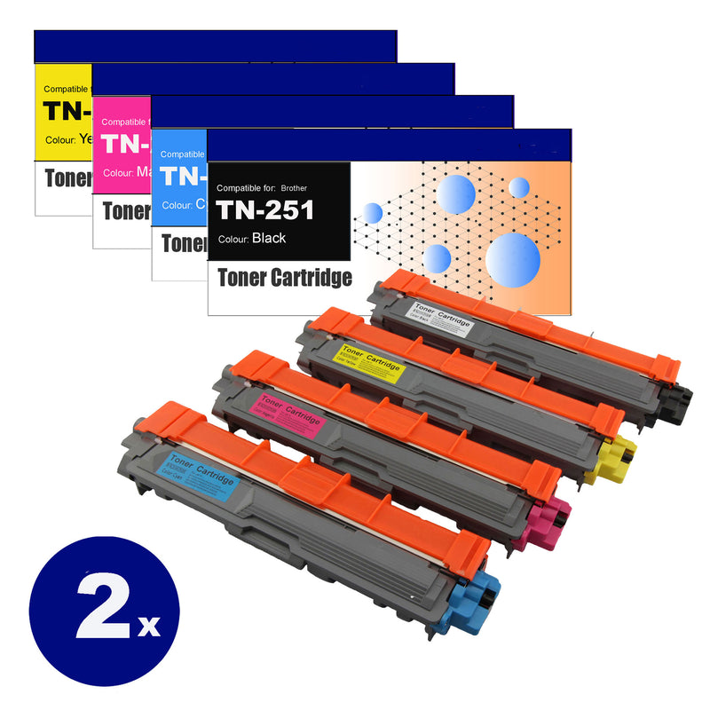 8 Pack Compatible Toner Cartridges for Brother TN-251/TN255  (BK+C+M+Y)
