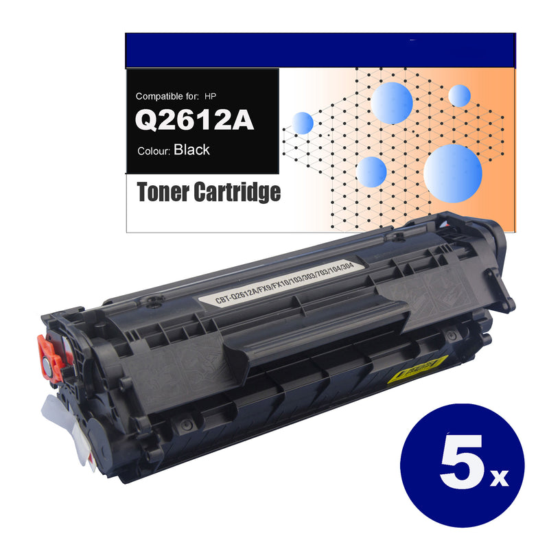 5 Pack Compatible Toner for HP Q2612A(12A) Black Toner Cartridges