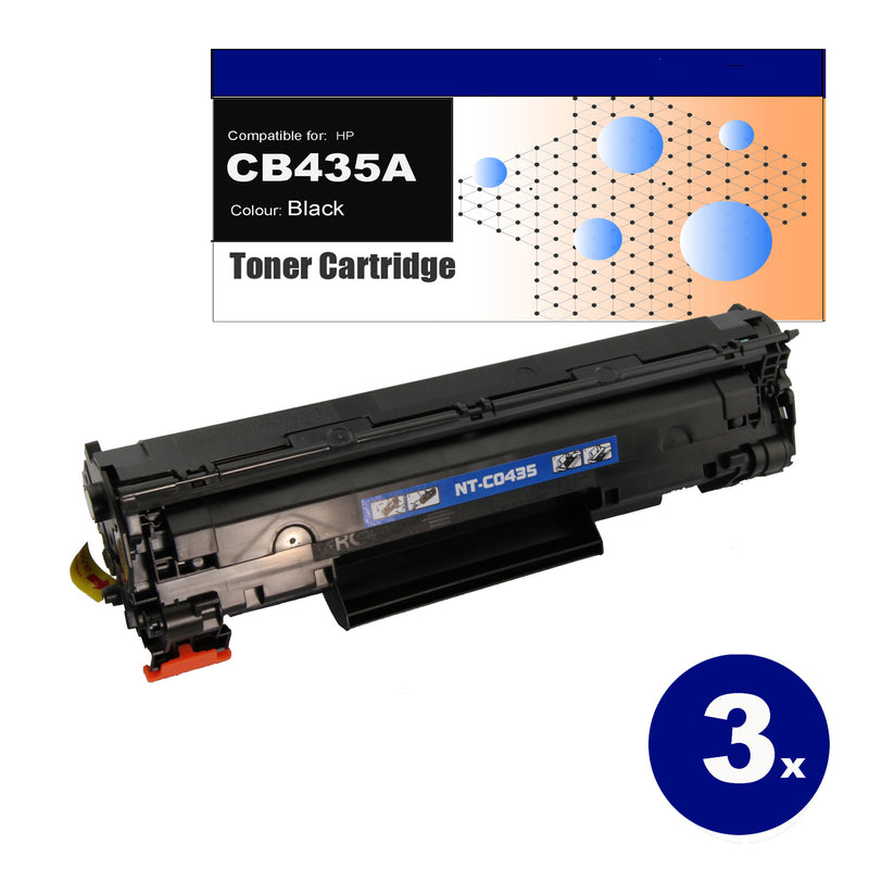 3 Pack Compatible Toner for HP CB435A(35A) Black Toner Cartridges