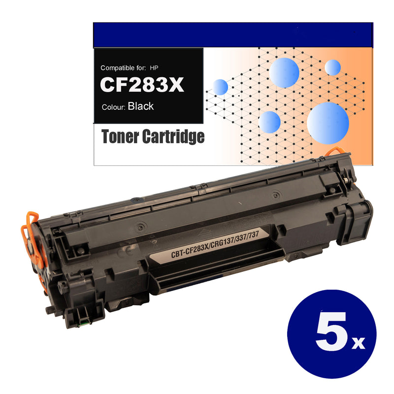 5 pack Compatible Toner for HP CF283X(83X) Black Toner Cartridges