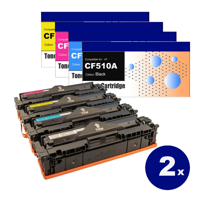 8 Pack Compatible Toner Cartridges for HP CF510A/511A/512A/513A(204A)