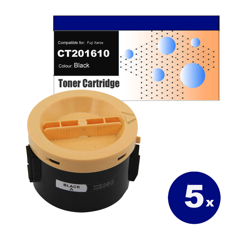 5x Compatible for Fuji Xerox CT201610 (M205B) black toner cartridges