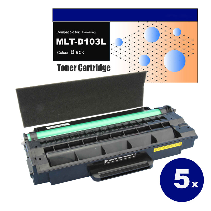 5x Compatible Toner for Samsung MLT-D103L Black Toner Cartridges
