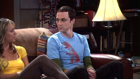 "Sheldon (The Big Bang Theory) Wearing Happy Family Clothing T-Rex T-Shirt on ""The Pirate Solution"" Episode"
