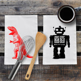 Geeky Robot and T-Rex Kitchen Towels - 2 Pack