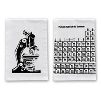 Scientific Microscope and Periodic Table Kitchen Towels - 2 Pack