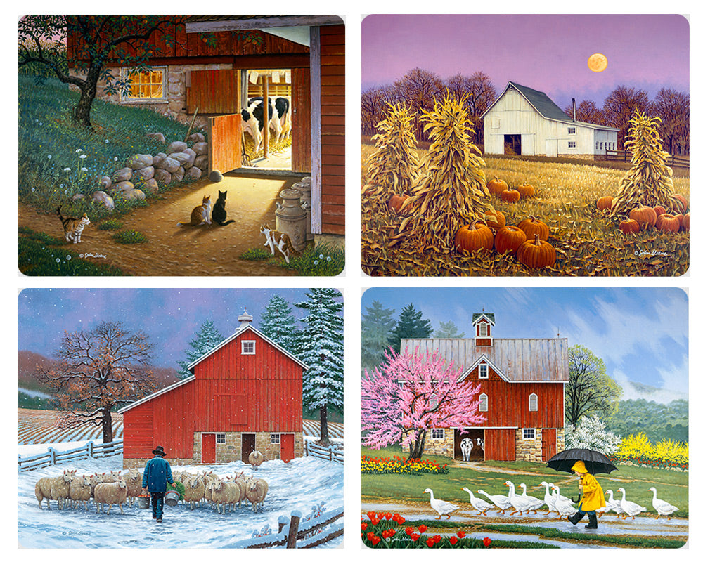 Country Barns Magnet Set