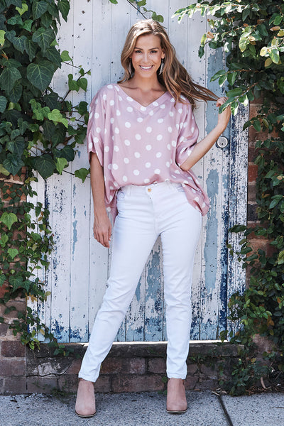 Holly Top Blush With V Neck