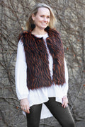Angie Faux Fur Vest Black and Burnt Orange