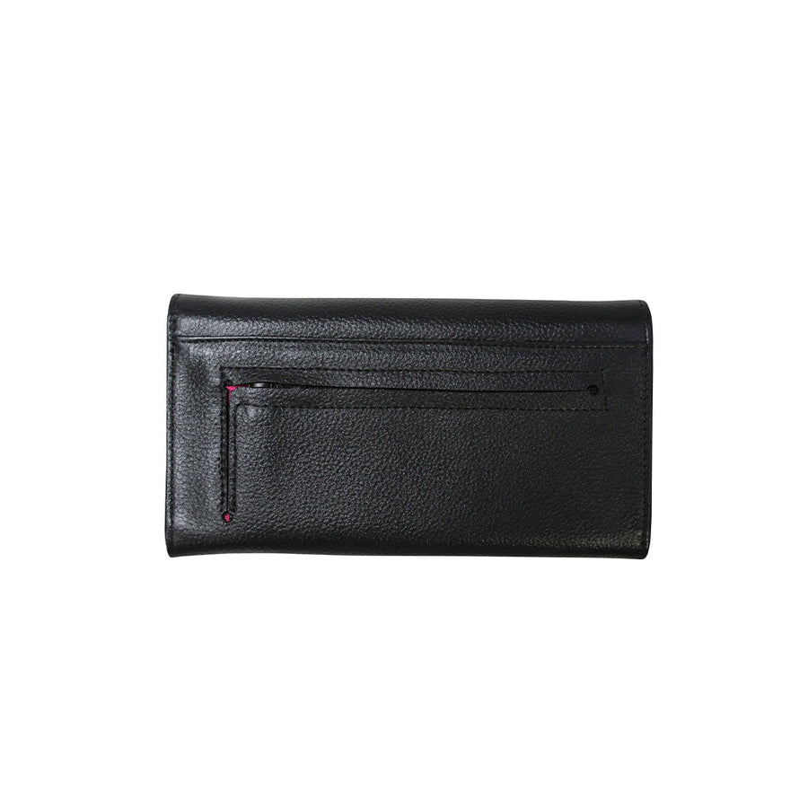 Foldover Wallet Black and White Cowhide