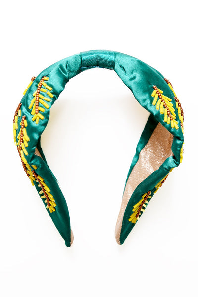 Liliana Decorative Embroidered Headband - Emerald