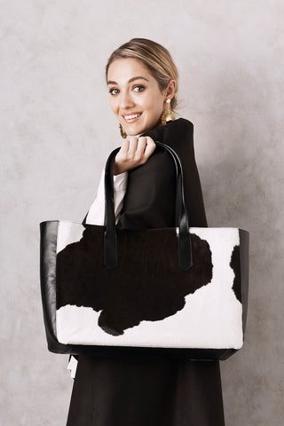 Madagascar Leather Handbag Black & White Cowhide