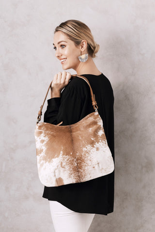 Hobo Bag in Tan and White Cowhide
