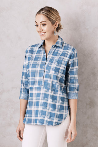Flannel Top in Blue
